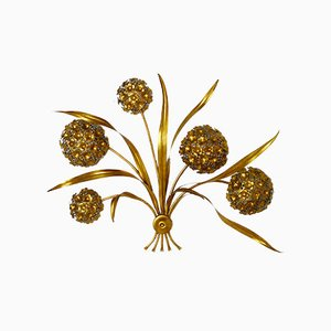 Vintage Gold-Leaf Flower Wall Lamp
