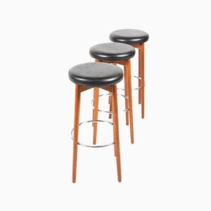 Danish Mid-Century Teak Bar Stools, 1960s, Set of 3