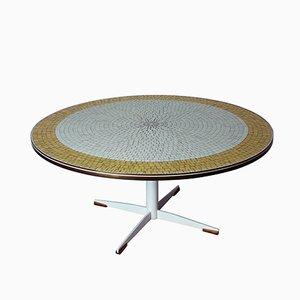 Vintage Italian Round Mosaic Coffee Table