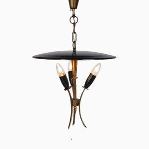 Lampe à Suspension Noire en Laiton et Métal, France, 1950s