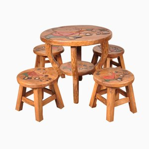 Oak Winnie The Pooh Children's Table & Stools, 1950s