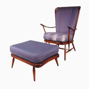 Britischer Buchen Sessel mit Ottoman von Lucian Ercolani für Ercol, 1950er