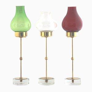 Große Mid-Century Kerzenständer aus Messing und Glas von Gunnar Ander für Ystad Metall, 3er Set