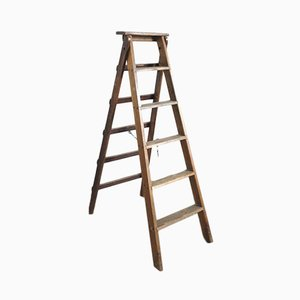 Industrial Wooden Foldable Ladder, 1930s