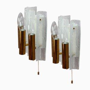 Austrian Ice Glass Sconces by J. T. Kalmar, 1950, Set of 2
