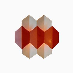 Danish Orange Wall Lights by Bent Karlby for Lyfa, 1970s, Set of 2