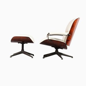 Italian Rosewood Swivel Chair with Ottoman by Ico Pasrisi for MIM Roma, 1955