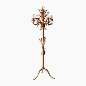 Hollywood Regency Floor Lamp with Wheat Decorations, 1960s