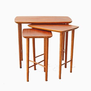 Mid-Century Danish Teak and Oak Nesting Tables, 1960s