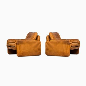 Cognac Leder Easy Chairs von De Sede, 2er Set