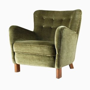 Danish Velour Club Chair from Fritz Hansen, 1940s