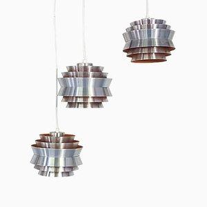 Swedish Trava Aluminum Pendants by Carl Thore for Granhaga Metallindustri, 1960s, Set of 3