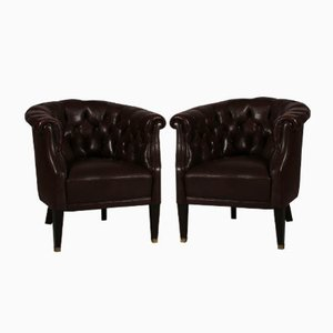 Poltrone Chesterfield di pelle marrone scura, Danimarca, anni '20, set di 2