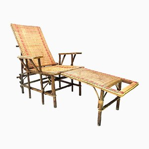 French Wicker And Bamboo Chaise Longue with Footrest, 1920s