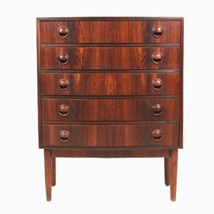 Medium Size Danish Rosewood Chest with Solid Rosewood Handles