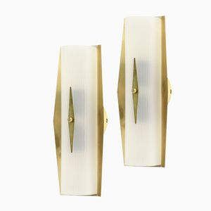 Norwegian Functionalist Brass Wall Sconces from Høvik Lys AS, 1950s, Set of 2