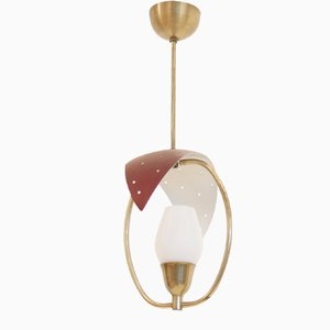 Skandinavische Mid-Century Deckenlampe aus Opalglas, 1950er