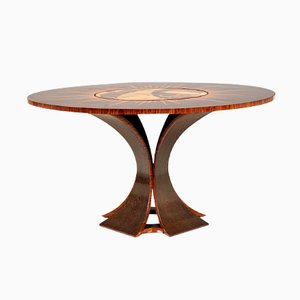 Palmwood & Rosewood Table with Revolving Center, 1970