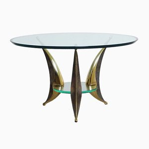 Italian Sculptural Glass & Brass Coffee Table, 1950s