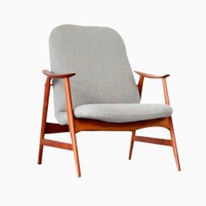 Danish Modern Teak Lounge Chair with Grey Upholstery