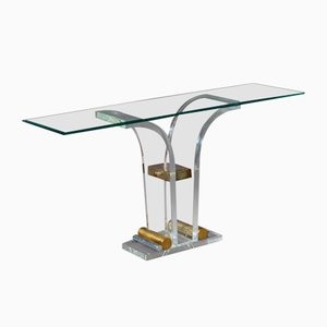 French Lucite Console Table, 1970s