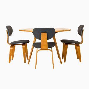 Table à Abattants avec Trois Chaises par Cees Braakman pour Pastoe, 1950s