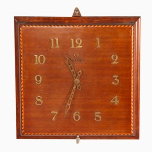 Mahogany Marquetry Wall Clock from Omega, 1950s