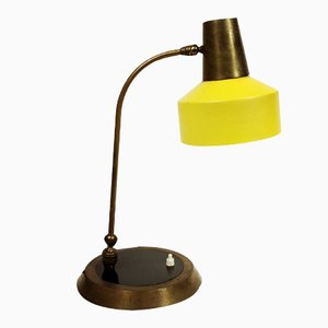 Large French Brass and Bakelite Table Lamp, 1960s