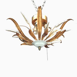 Italian Wrought Iron Wheat Chandelier from Masca, 1960s