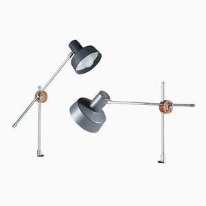 Niederländische Chrom, Teak & Eichenholz Tischlampen von Philips, 1960er, 2er Set