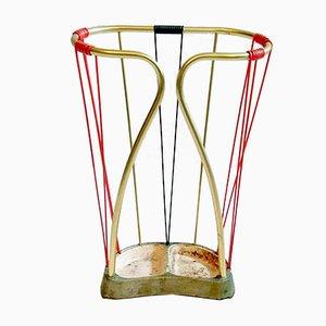 Italienischer Schirmständer aus Messing & Kunststoff, 1950er