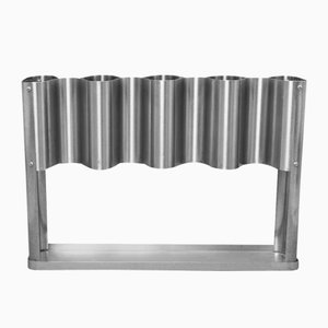 French Stainless Steel Umbrella Stand, 1970s