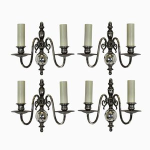 Flemish Silver Wall Sconces, Set of 4