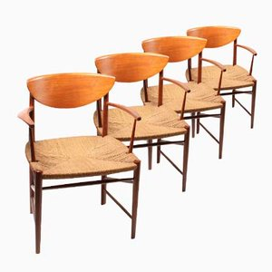 Danish 317 Teak Armchairs by Peter Hvidt and Orla Mølgaard Nielsen, 1950s, Set of 4