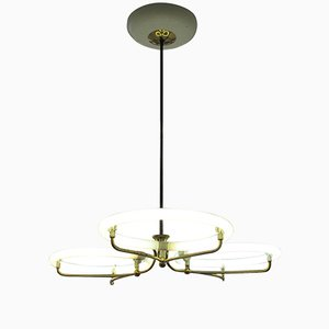 Large Brass Ceiling Lamp with Circular Tubes, 1950s