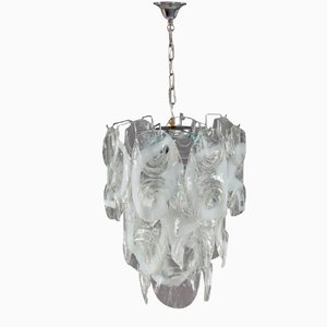 Italian Chrome & Glass Chandelier, 1970
