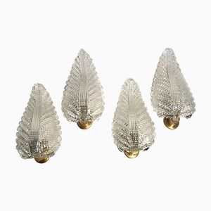 Large Italian Leaf-Shaped Wall Light from Barovier e Toso