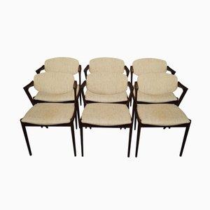 Chaises de Salle à Manger Modèle 42 en Palissandre par Kai Kristiansen, 1960s, Set de 6