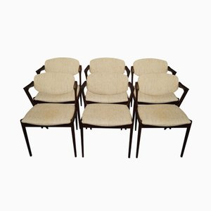 Model 42 Rosewood Dining Chairs by Kai Kristiansen, 1960s, Set of 6