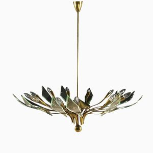 Italian Brass Chandelier with Crystal Curved Foils, 1950s
