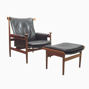 Danish Bwana Chair with Ottoman by Finn Juhl for France & Son, 1960s, Set of 2