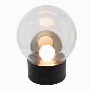 Medium Boule in Clear and Smoky Grey Glass with a Black Base by Sebastian Herkner for Pulpo & Rosenthal