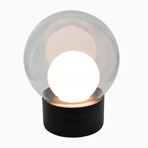 Medium Boule in Clear & Opal White Glass with a Black Base by Sebastian Herkner for Pulpo & Rosenthal