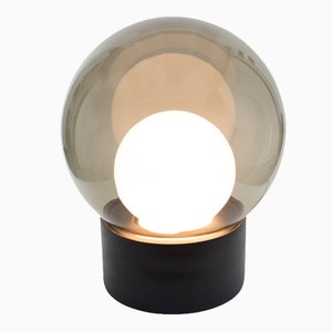 Medium Boule in Opal White & Smoky Grey Glass with a Black Base by Sebastian Herkner for Pulpo & Rosenthal