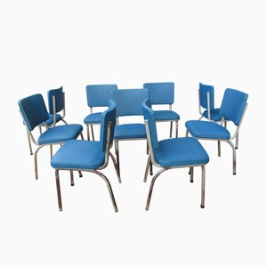 Belgian Industrial Vintage Chairs from Tubax, 1950s, Set of 9