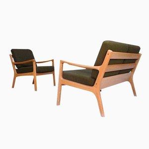 Dänischer Senator Sessel und Sofa aus Eichenholz von Ole Wanscher für Cado, 1960er, 2er Set