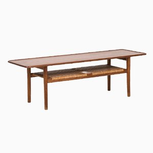 Danish AT-10 Teak & Cane Coffee Table by Hans Wegner for Andreas Tuck, 1950s