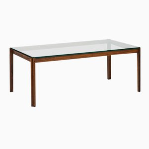 Mid-Century Rosewood & Glass Coffee Table, 1960s