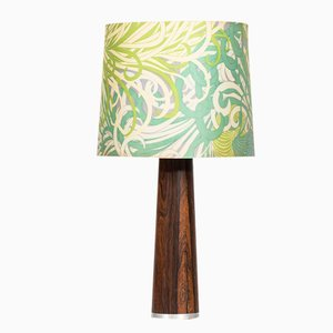 Scandinavian Rosewood Table Lamp with Floral Shade, 1960s