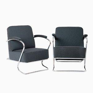 Tschechische Sessel mit Stahlrohrrahmen, 1930er, 2er Set